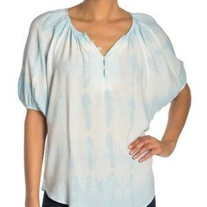 Karen Kane M Blue Bohemian Tie Dye Button-Up Top